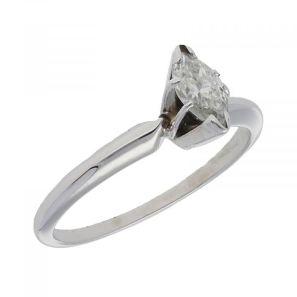 14k White Gold 035Ct Marquise Cut Single Stone Engagement Ring Size 55 124523952023 4