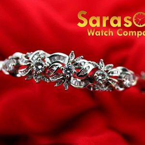 14k White Gold 185ct TW Diamonds Flower Design Bangle Womens Bracelet 65 113517491293