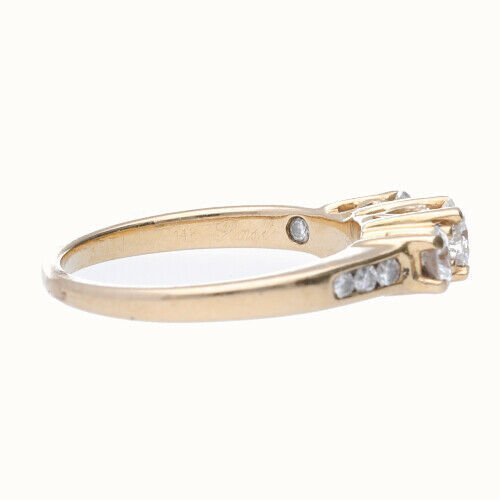 14k Yellow Gold 3 Stone Anniversary Womens Diamond Ring Size 7 133334091753 4