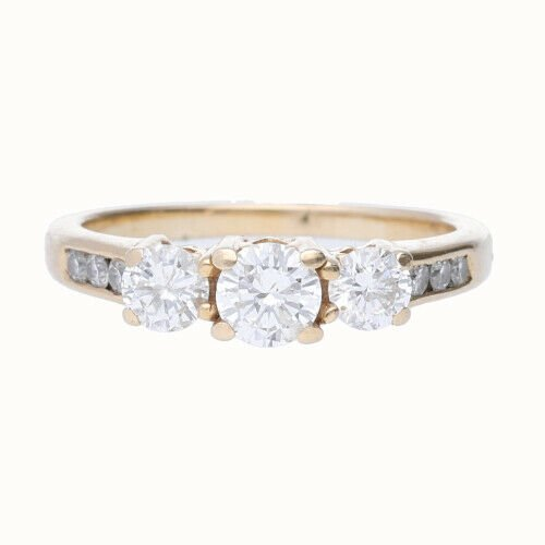 14k Yellow Gold 3 Stone Anniversary Womens Diamond Ring Size 7 133334091753