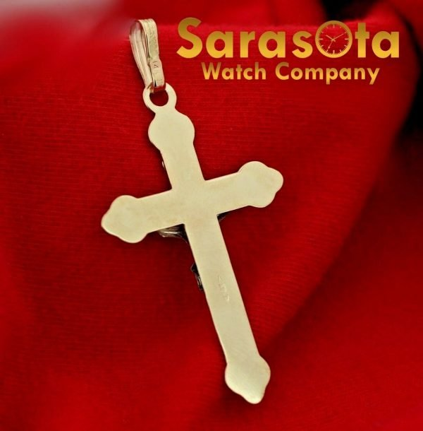 14k Yellow Gold Polish Religion Spirituality 2 Long Cross Pendant 123588340253 3