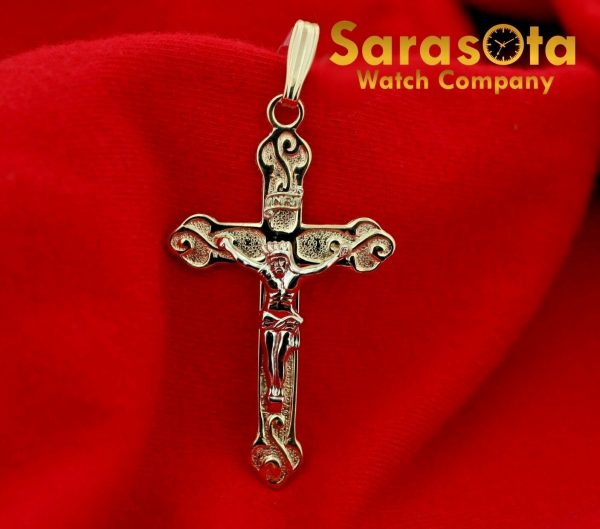 14k Yellow Gold Polish Religion Spirituality 2 Long Cross Pendant 123588340253