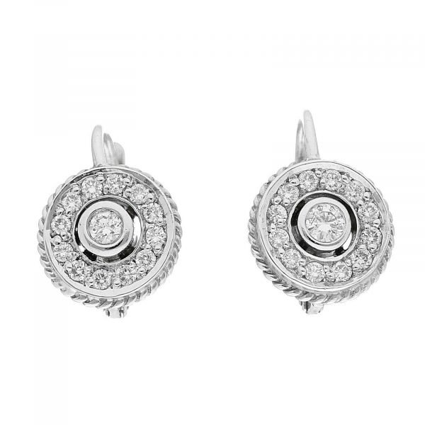 18k White Gold Pave Diamond Mini 10mm Drop Dangle Lever Back Womens Earrings 114610530763 2