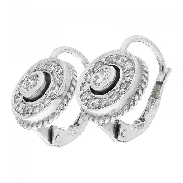 18k White Gold Pave Diamond Mini 10mm Drop Dangle Lever Back Womens Earrings 114610530763 3
