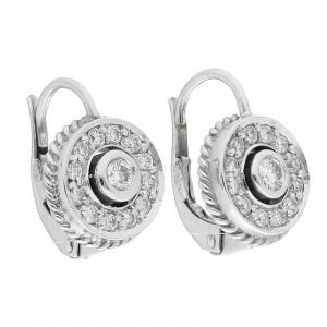 18k White Gold Pave Diamond Mini 10mm Drop Dangle Lever Back Womens Earrings 114610530763