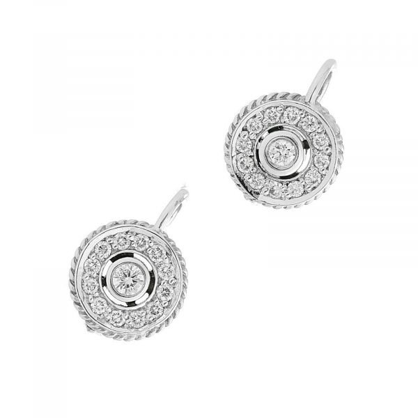 18k White Gold Pave Diamond Mini 10mm Drop Dangle Lever Back Womens Earrings 114610530763 4