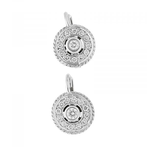 18k White Gold Pave Diamond Mini 10mm Drop Dangle Lever Back Womens Earrings 114610530763 5