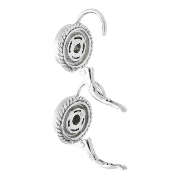 18k White Gold Pave Diamond Mini 10mm Drop Dangle Lever Back Womens Earrings 114610530763 9