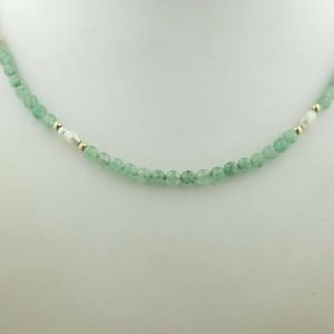Adventurine BeadFresh Water Pearl 10K Gold Accents 175 Womens Necklace 122073268443