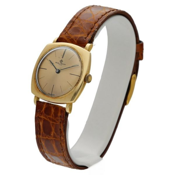 BaumeMercier Geneve 18K Yellow Gold Brown Leather Strap Dress Womens Watch 114155217403 2