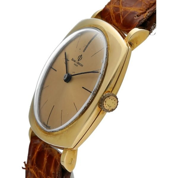 BaumeMercier Geneve 18K Yellow Gold Brown Leather Strap Dress Womens Watch 114155217403 3