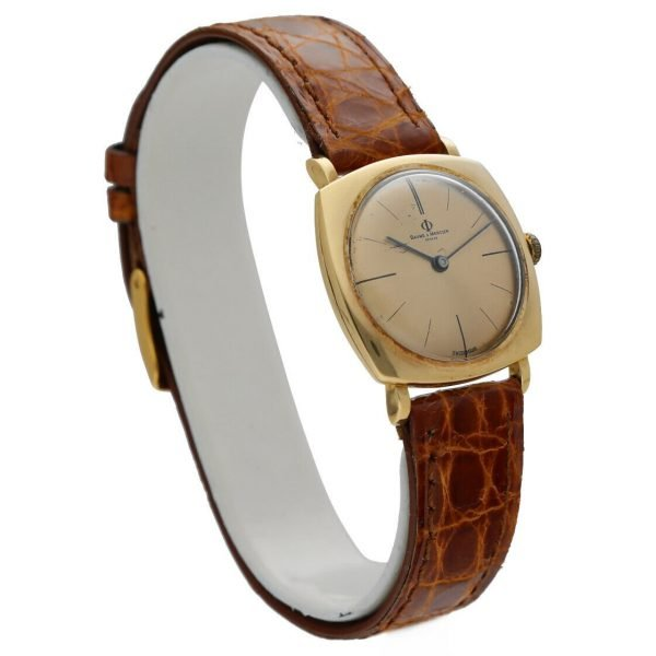 BaumeMercier Geneve 18K Yellow Gold Brown Leather Strap Dress Womens Watch 114155217403 4