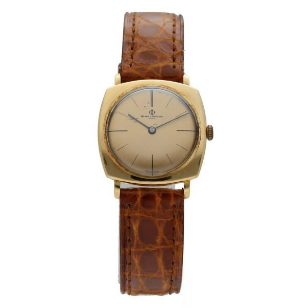 BaumeMercier Geneve 18K Yellow Gold Brown Leather Strap Dress Womens Watch 114155217403