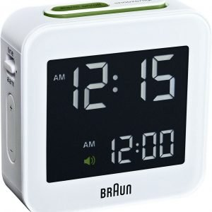Braun BNC008WH White Digital LCD Travel Quartz Alarm Clock 133566718223