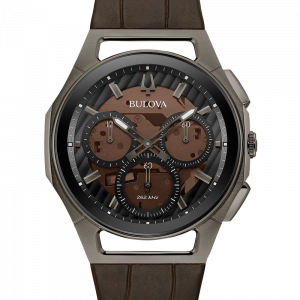 Bulova Curv 98A231 Gray Stainless Steel 44mm Brown Leather Quartz Mens Watch 133533143543