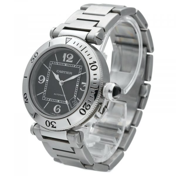 Cartier Pasha Seatimer 2790 Black Dial Stainless Steel Automatic Mens Watch 114531078563 2