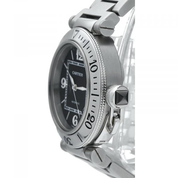 Cartier Pasha Seatimer 2790 Black Dial Stainless Steel Automatic Mens Watch 114531078563 3