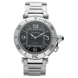 Cartier Pasha Seatimer 2790 Black Dial Stainless Steel Automatic Mens Watch 114531078563