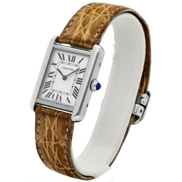 Cartier Tank Solo 2716 24mm x 30mm Stainless Steel Leather Quartz Ladies Watch 124124942813 3