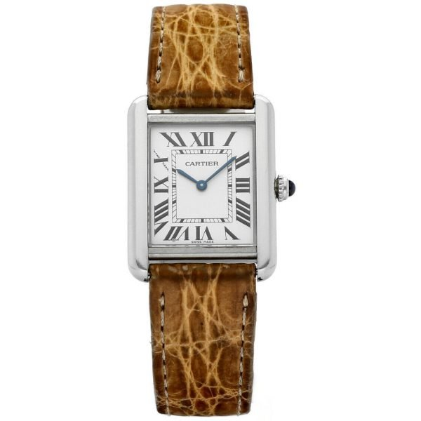 Cartier Tank Solo 2716 24mm x 30mm Stainless Steel Leather Quartz Ladies Watch 124124942813
