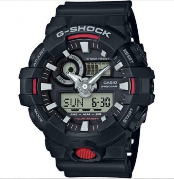 Casio G SHOCK GA700 1ACR Super Illuminator Black Rubber Analog Digital Mens Wat 113824725053