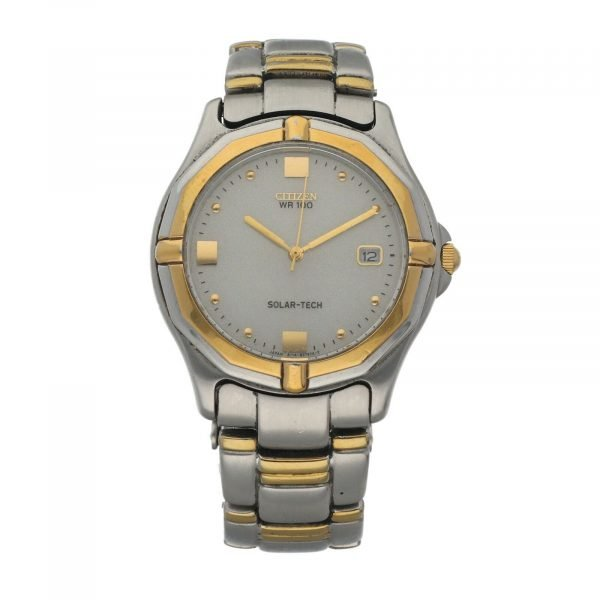 Citizen Eco Drive A114 H16536 WR100 Solar Tech 36mm Steel Two Tone Mens Watch 124559500073
