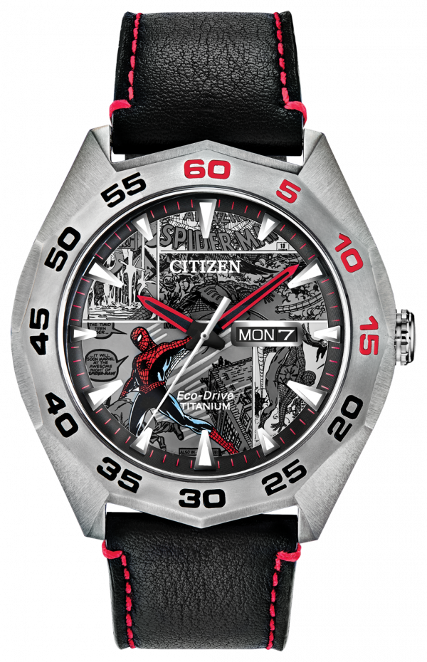 Citizen Eco Drive Spider Man AW0061 01W Marvel Classic Leather Mens Watch 133570256993