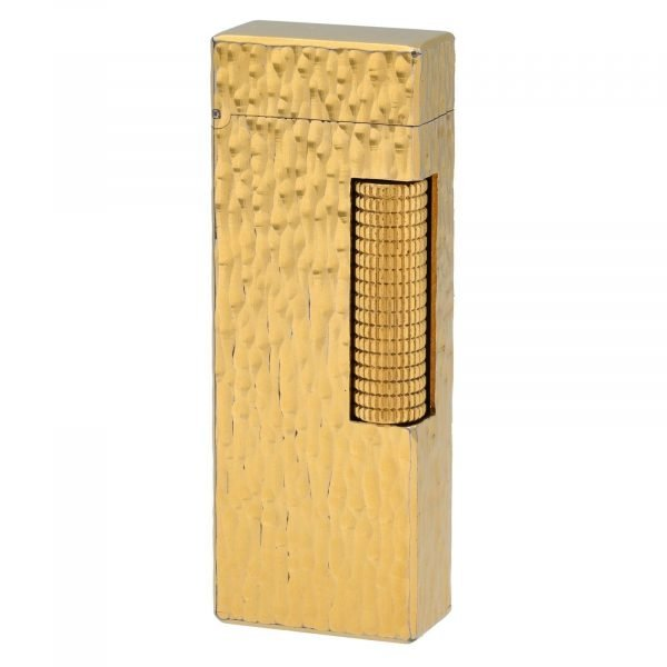 Dunhill Hammered Design Gold Plated Rectangle 23x64x12 mm Roller Gas Lighter 133629176313 2