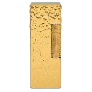 Dunhill Hammered Design Gold Plated Rectangle 23x64x12 mm Roller Gas Lighter 133629176313