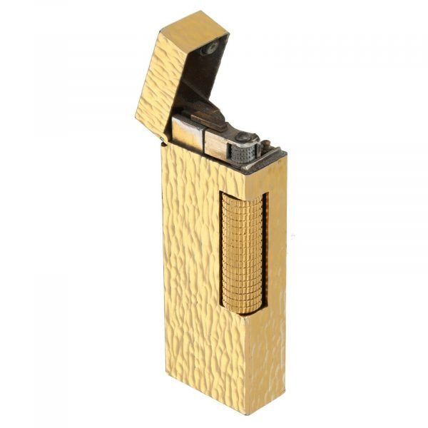Dunhill Hammered Design Gold Plated Rectangle 23x64x12 mm Roller Gas Lighter 133629176313 4
