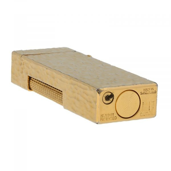 Dunhill Hammered Design Gold Plated Rectangle 23x64x12 mm Roller Gas Lighter 133629176313 5