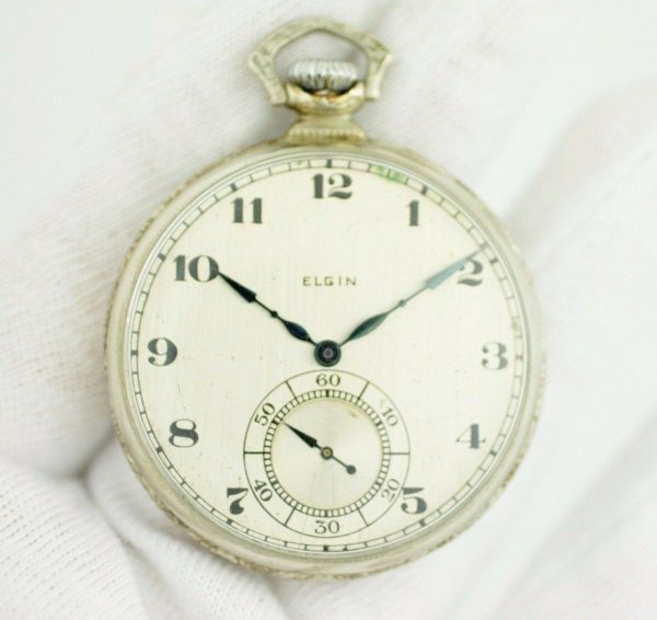 Elgin 12 Size 17 Jewels Open Face Arabic Dial White Gold Clad Pocket Watch 113678799043 3
