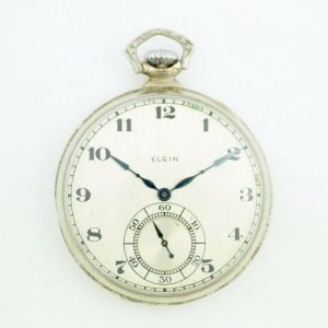 Elgin 12 Size 17 Jewels Open Face Arabic Dial White Gold Clad Pocket Watch 113678799043