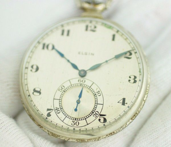 Elgin 12 Size 17 Jewels Open Face Arabic Dial White Gold Clad Pocket Watch 113678799043 4