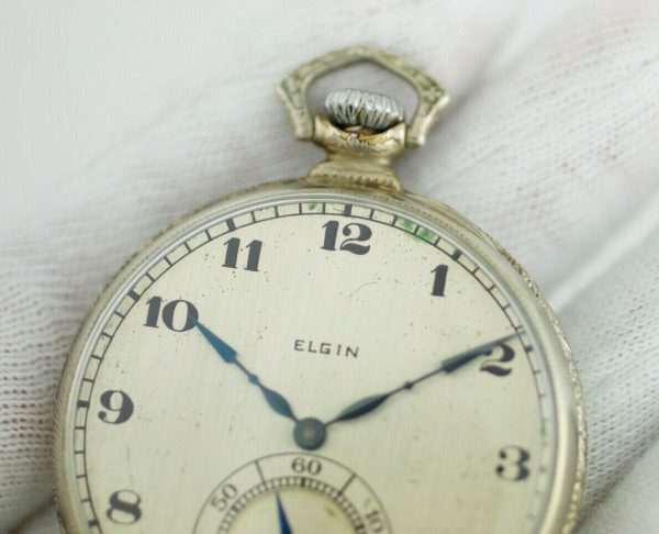 Elgin 12 Size 17 Jewels Open Face Arabic Dial White Gold Clad Pocket Watch 113678799043 5