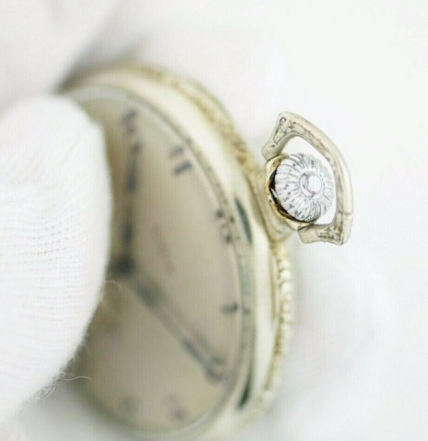 Elgin 12 Size 17 Jewels Open Face Arabic Dial White Gold Clad Pocket Watch 113678799043 8