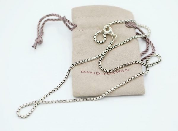 100 Authentic David Yurman Sterling Silver 925 25 mm Box Chain 22 Necklace 124371482534 6