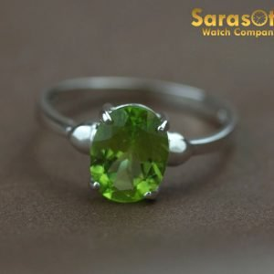 14K White Gold Prong Set Peridot Gemstone Solitaire Womens Ring Size 775 111884771904