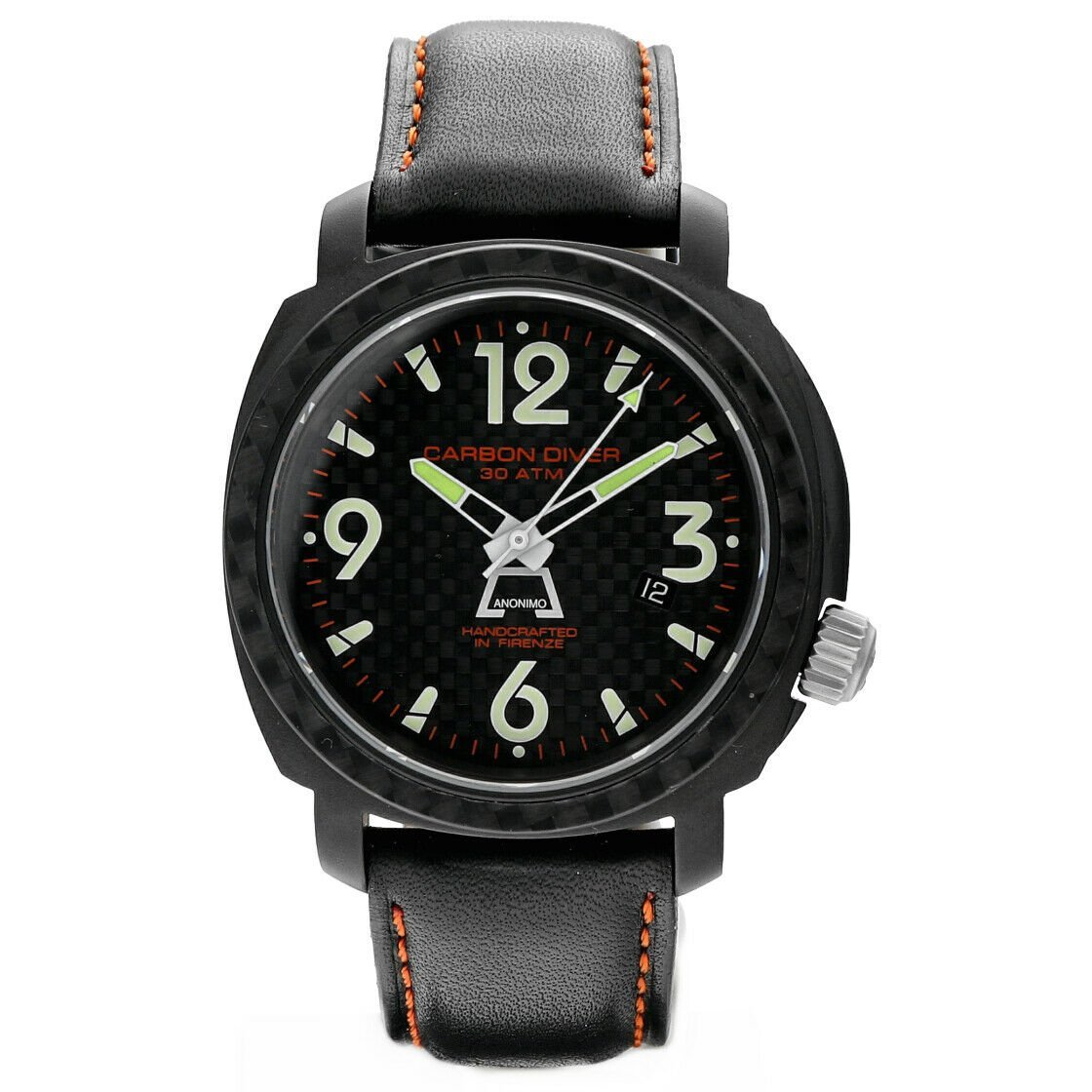Anonimo Carbon Diver Drass Black PVD 46mm Steel Leather Automatic Mens Watch 124235653964