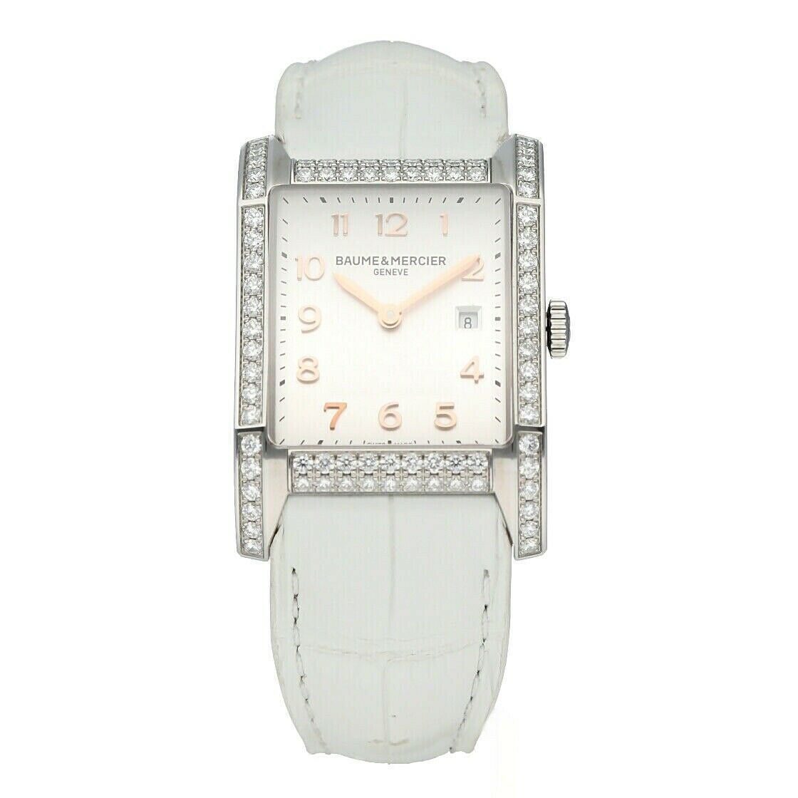 Baume Mercier Hampton M0A10025 Diamonds Rectangle Steel Quartz Ladies Watch 133485351154