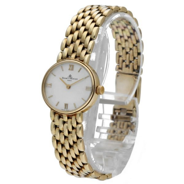 BaumeMercier 7658 14k Yellow Solid Gold MOP Dial Oval Quartz Womens Watch 124382066464 2