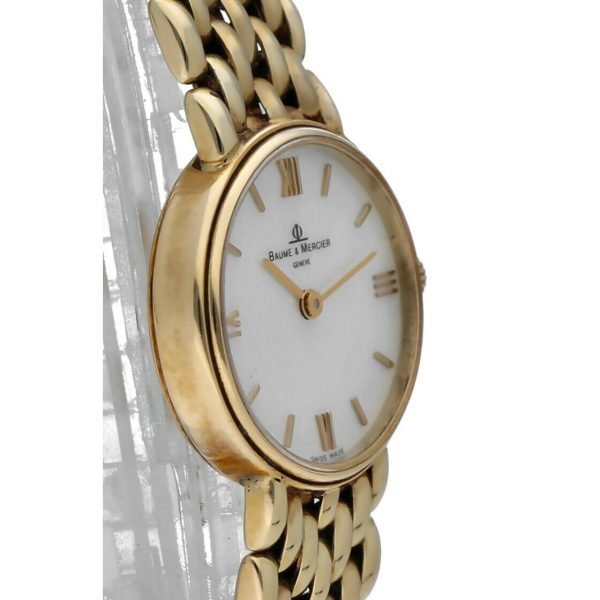BaumeMercier 7658 14k Yellow Solid Gold MOP Dial Oval Quartz Womens Watch 124382066464 4