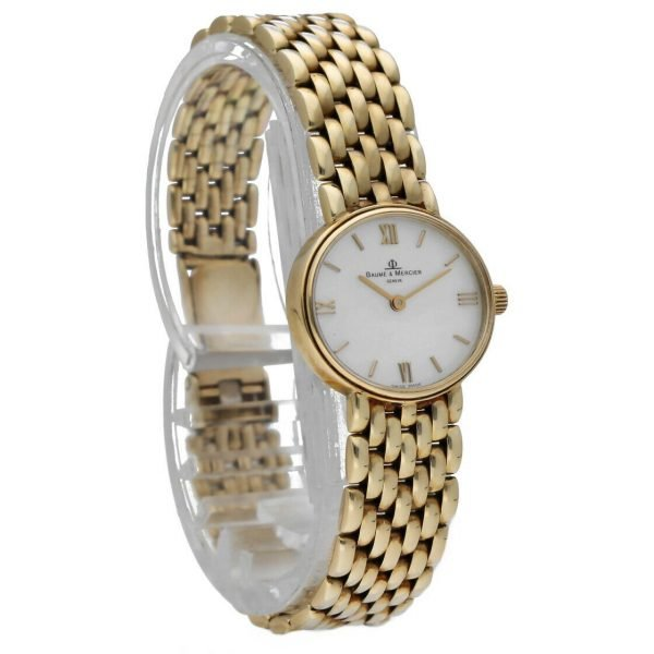 BaumeMercier 7658 14k Yellow Solid Gold MOP Dial Oval Quartz Womens Watch 124382066464 5