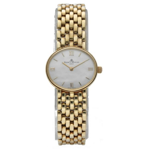 BaumeMercier 7658 14k Yellow Solid Gold MOP Dial Oval Quartz Womens Watch 124382066464