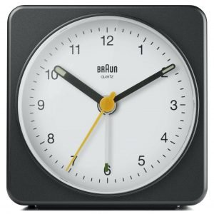 Braun BN BC03BW Large Black White Square Quartz Alarm Classic Travel Clock 133653561924