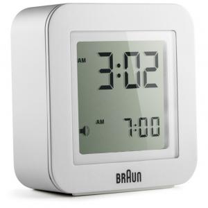 Braun BN C018WH White Digital LCD Travel Quartz Alarm Clock Square 225 124580648834