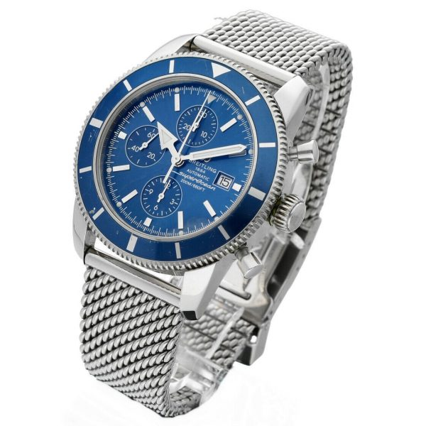 Breitling Superocean A13320 Blue Chrono Mesh 46mm Steel Automatic Mens Watch 114262742314 2