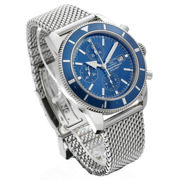 Breitling Superocean A13320 Blue Chrono Mesh 46mm Steel Automatic Mens Watch 114262742314 3