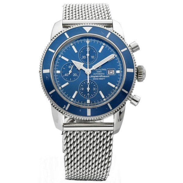 Breitling Superocean A13320 Blue Chrono Mesh 46mm Steel Automatic Mens Watch 114262742314