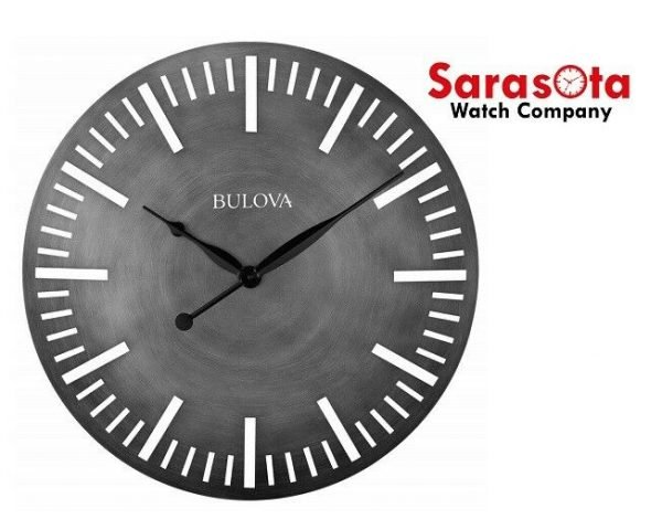 Bulova ARC C4869 Gray Dial Antique Finish Curved Metal Case 24 Round Wall Clock 132883144594